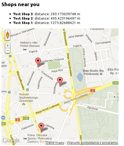 Sklepy i adres użytkownika zaznaczone na mapie
