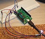 BlinkM podłączone do pyMCU z wykorzystaniem rezystorów pullup